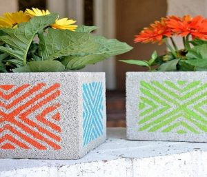 Concrete blocks in garden