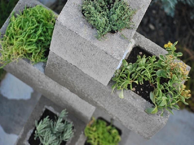 concrete blocks in garden